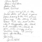 Letter from Anne Hill