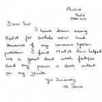 Letter from Mr Smith, a Matol customer suffering from Lupus