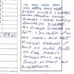 Letter from Matol customer suffering from Raynaud's Disease and Lupus